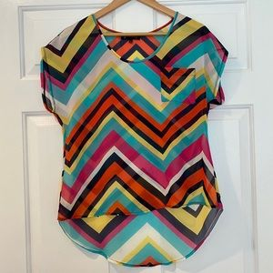 Sheer High-Low Colorful Geometric Blouse